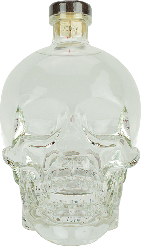 Engraved text on a bottle of Personalised Crystal Head Vodka 70cl