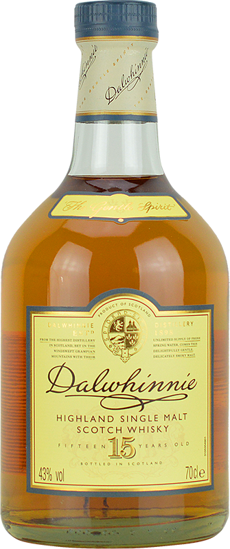 Engraved text on a bottle of Personalised Dalwhinnie 15 Year Old Whisky 70cl