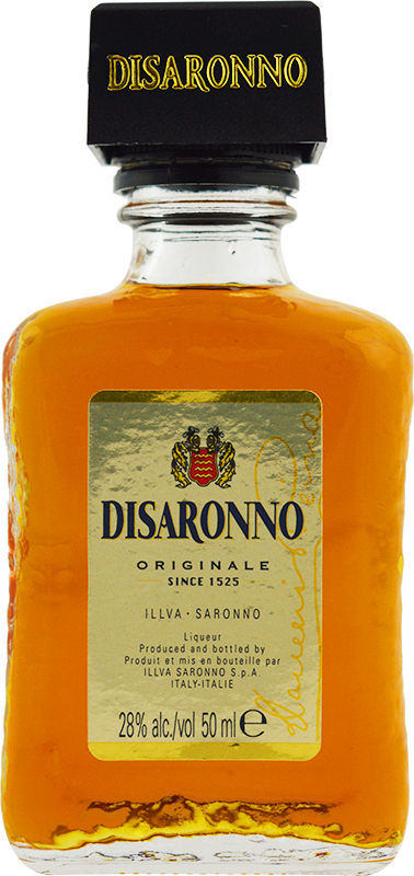 Engraved text on a bottle of Personalised Miniature Disaronno Liqueur 5cl