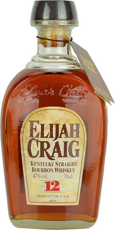 Engraved text on a bottle of Personalised Elijah Craig 12 Year Old Bourbon Whisky 70cl