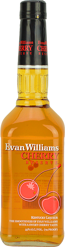 Engraved text on a bottle of Personalised Evan Williams Cherry Reserve Bourbon 70cl