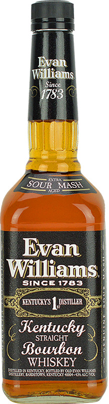 Engraved text on a bottle of Personalised Evan Williams Kentucky Straight Bourbon 70cl