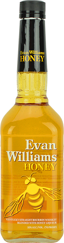 Engraved text on a bottle of Personalised Evan Williams Honey Reserve Bourbon 70cl