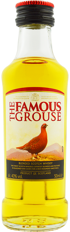 Engraved text on a bottle of Personalised Miniature Famous Grouse Whisky 5cl