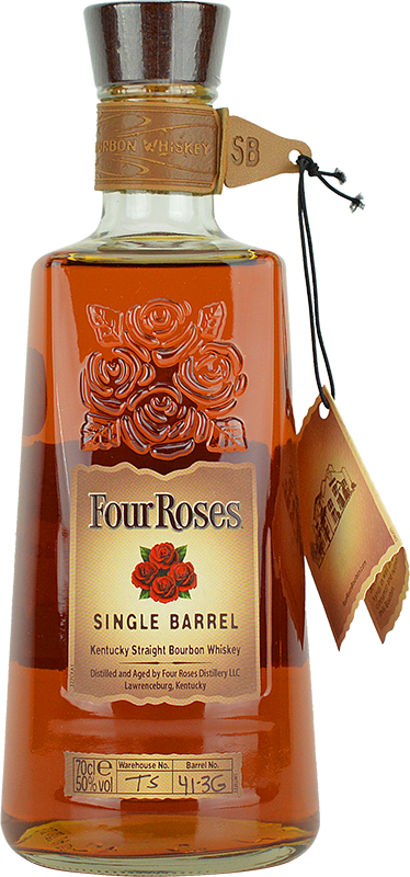 Engraved text on a bottle of Personalised Four Roses Single Barrel Bourbon Whiskey 70cl