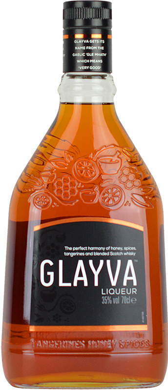 Engraved text on a bottle of Personalised Glayva Liqueur 50cl
