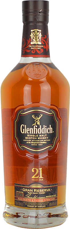 Engraved text on a bottle of Personalised Glenfiddich 21 Year Old Gran Reserva Whisky 70cl