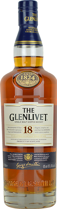 Engraved text on a bottle of Personalised Glenlivet 18 Year Old Whisky 70cl