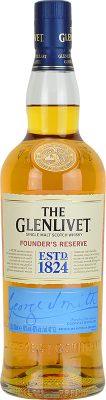 Engraved text on a bottle of Personalised Glenlivet Founders Reserve Whisky 70cl