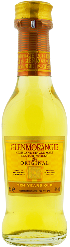 Engraved text on a bottle of Personalised Miniature Glenmorangie Whisky 5cl