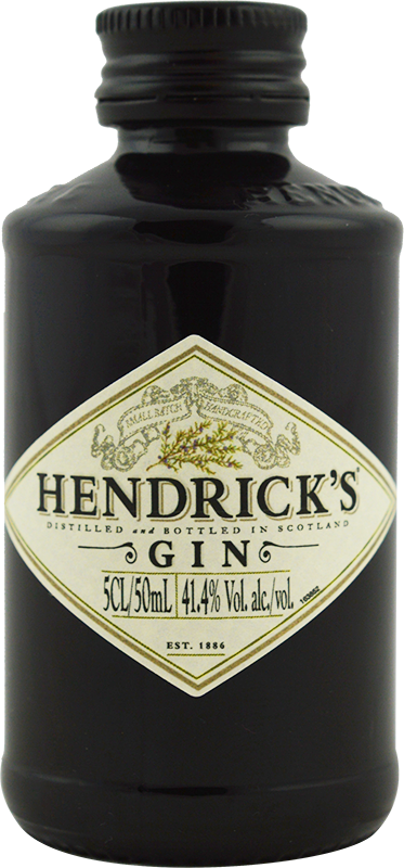 Engraved text on a bottle of Personalised Miniature Hendricks Gin 5cl
