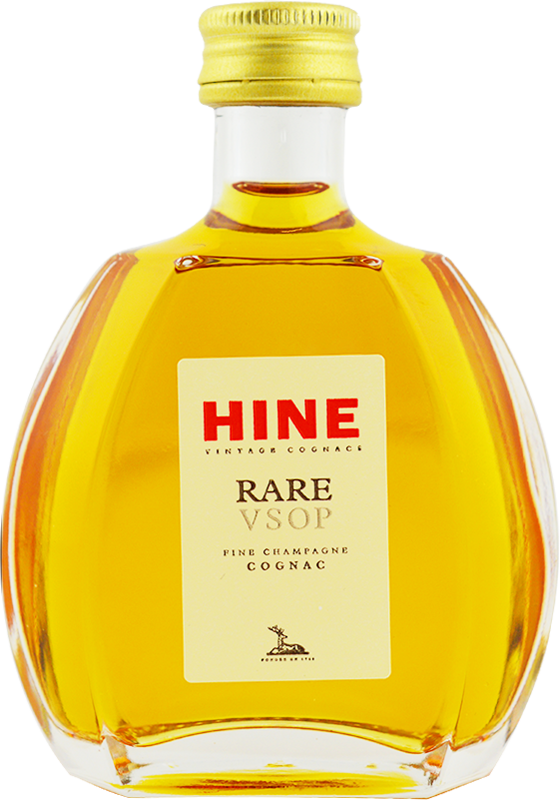 Engraved text on a bottle of Personalised Miniature Hine Rare VSOP Cognac 5cl