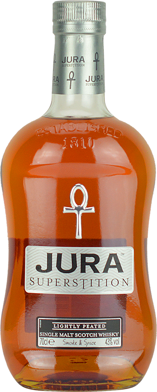 Engraved text on a bottle of Personalised Isle of Jura Superstition Whisky 70cl