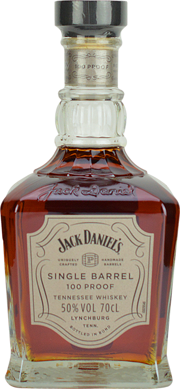 Engraved text on a bottle of Personalised Jack Daniels Single Barrel 100% Proof 70cl