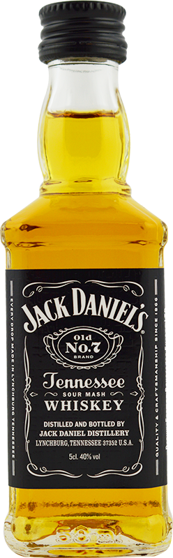 Engraved text on a bottle of Personalised Miniature Jack Daniels No7 5cl