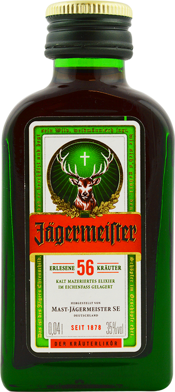 Engraved text on a bottle of Personalised Miniature Jagermeister 4cl