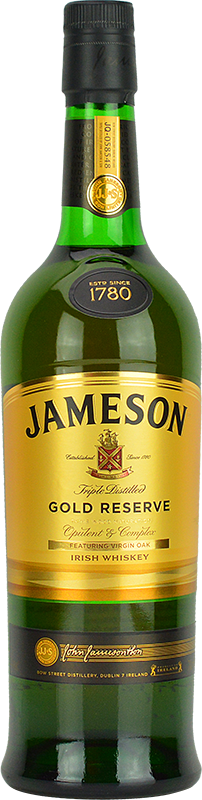 Engraved text on a bottle of Personalised Jameson Gold Reserve 70cl