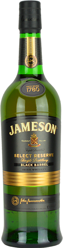 Engraved text on a bottle of Personalised Jameson Select Reserve Black Barrel Whiskey 70cl