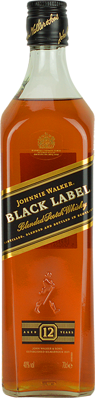 Engraved text on a bottle of Personalised Johnnie Walker Black Label Whisky 70cl