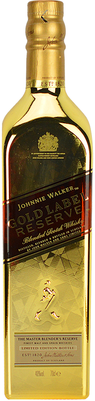 Engraved text on a bottle of Personalised Johnnie Walker Gold Reserve Limited Edition Bullion Whisky 70cl