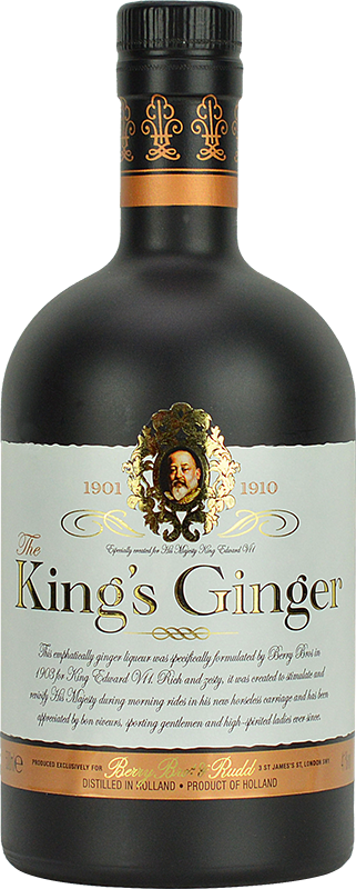 Engraved text on a bottle of Personalised Kings Ginger Liqueur 50cl