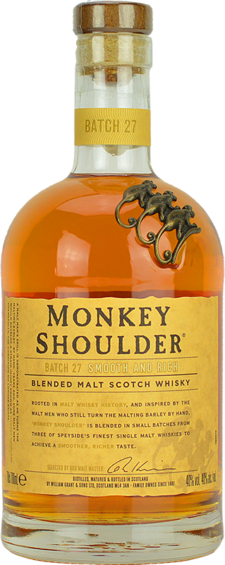 Engraved text on a bottle of Personalised Monkey Shoulder Whisky 70cl