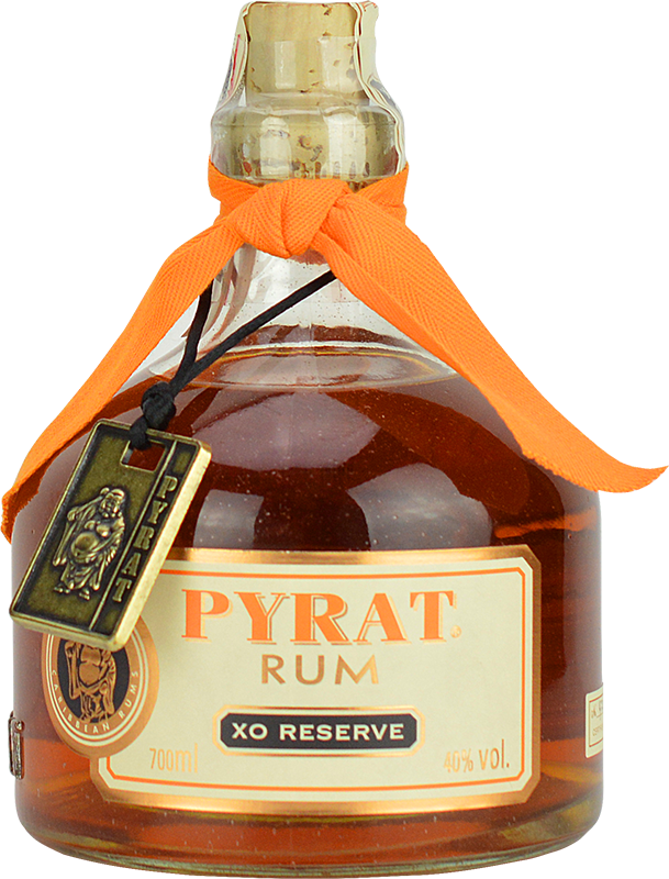 Engraved text on a bottle of Personalised Pyrat XO Rum 70cl