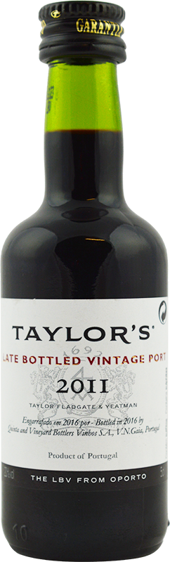 Engraved text on a bottle of Personalised Miniature Taylor's Late Bottled Vintage Port 5cl