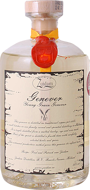 Engraved text on a bottle of Personalised Zuidam Young Grain Genever 70cl