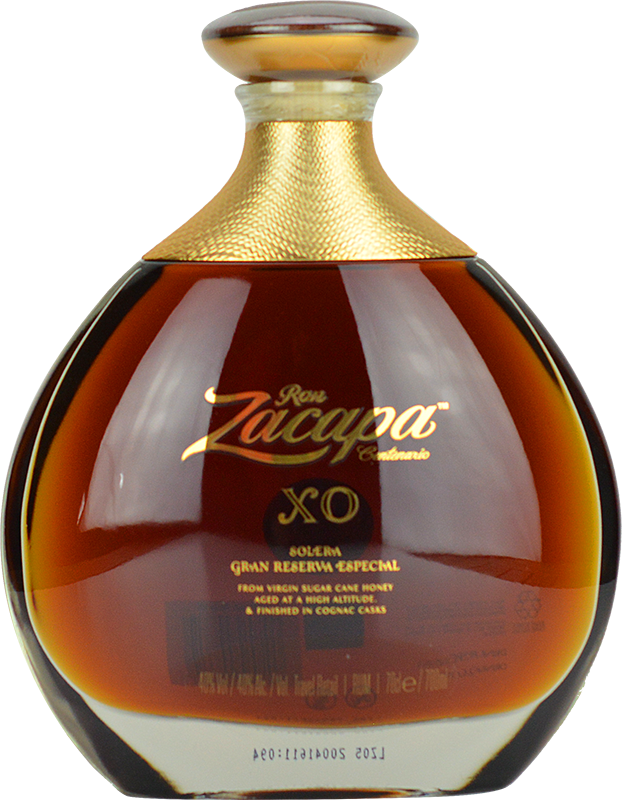 Engraved text on a bottle of Personalised Ron Zacapa XO Rum 70cl