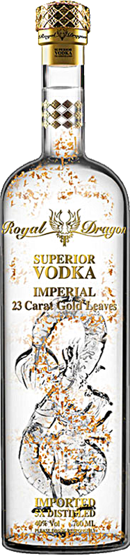 Engraved text on a bottle of Personalised Royal Dragon Imperial Vodka 70cl