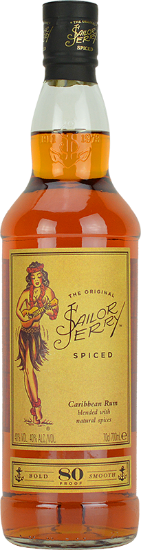 Engraved text on a bottle of Personalised Sailor Jerry Spiced Rum 70cl