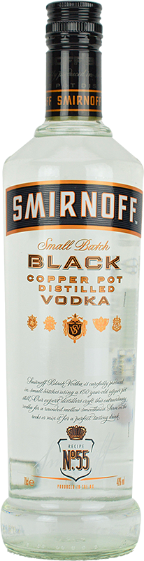 Personalised Smirnoff Black Label Vodka 70cl engraved bottle
