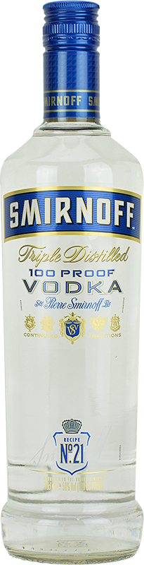 Engraved text on a bottle of Personalised Smirnoff Blue 100 Proof Vodka 70cl