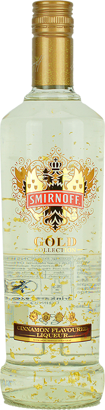 Engraved text on a bottle of Personalised Smirnoff Gold Cinnamon 70cl