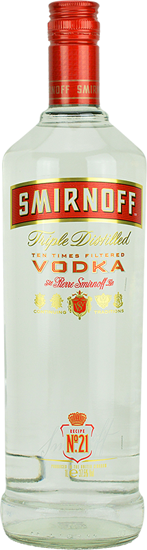 Engraved text on a bottle of Personalised Smirnoff Red Vodka 100cl