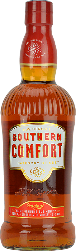 Engraved text on a bottle of Personalised Southern Comfort Whiskey Liqueur 70cl