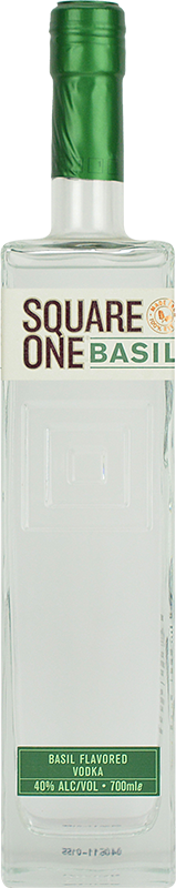Engraved text on a bottle of Personalised Square One Basil Vodka 70cl