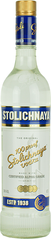 Engraved text on a bottle of Personalised Stolichnaya Blue Label Vodka 70cl