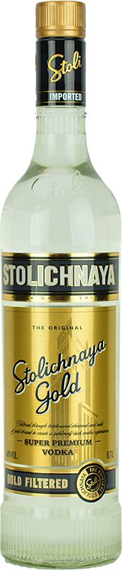 Personalised Stolichnaya Gold Label Vodka 70cl engraved bottle