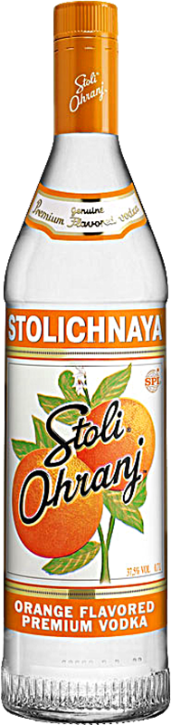 Engraved text on a bottle of Personalised Stolichnaya Orange Vodka 70cl