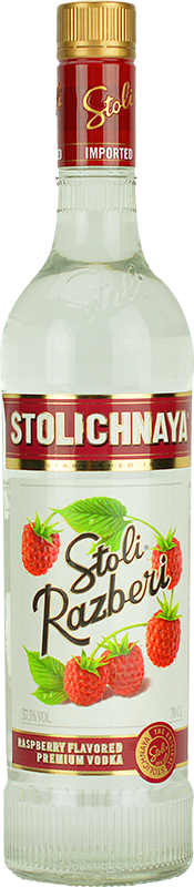 Engraved text on a bottle of Personalised Stolichnaya Raspberry Flavoured Vodka 70cl