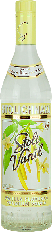 Engraved text on a bottle of Personalised Stolichnaya Vanilla Vodka 70cl