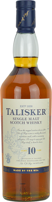 Engraved text on a bottle of Personalised Talisker 10 Year Old Whisky 70cl