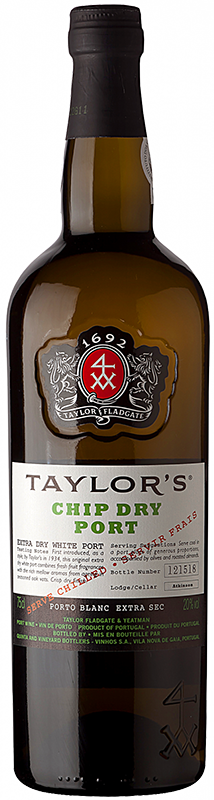 Engraved text on a bottle of Personalised Taylors Chip Dry Port 75cl