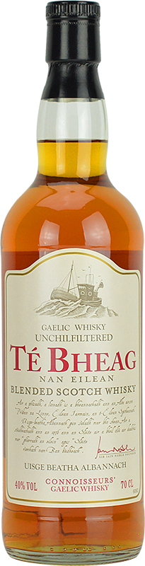 Engraved text on a bottle of Personalised Te Bheag Nan Eilean Whisky 70cl
