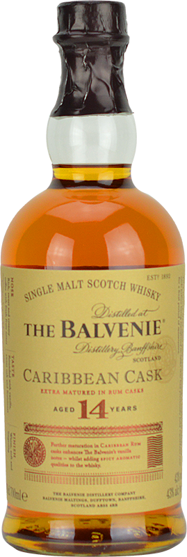 Engraved text on a bottle of Personalised Balvenie 14 Year Old Caribbean Cask Whisky 70cl