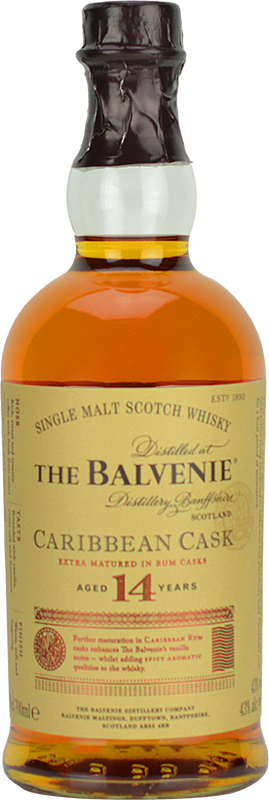 Personalised Balvenie 14 Year Old Caribbean Cask Whisky 70cl engraved bottle