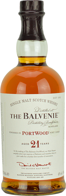 Engraved text on a bottle of Personalised Balvenie 21 Year Old Whisky 70cl