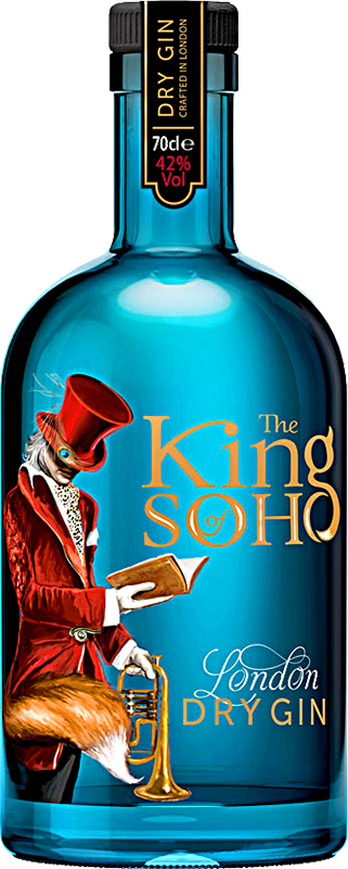 Personalised The King of Soho London Dry Gin 70cl engraved bottle